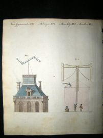 Bertuch 1804 Hand Colored Print. Telegraphs